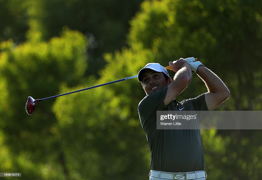 <a gi-track='captionPersonalityLinkClicked' href=/galleries/search?phrase=Francesco+Molinari&family=editorial&specificpeople=637481 ng-click='$event.stopPropagation()'>Francesco Molinari</a> of Italy tees off on the 18th hole during the first round of the Trophee du Hassan II Golf at Golf du Palais Royal on March 28, 2013 in Agadir, Morocco.