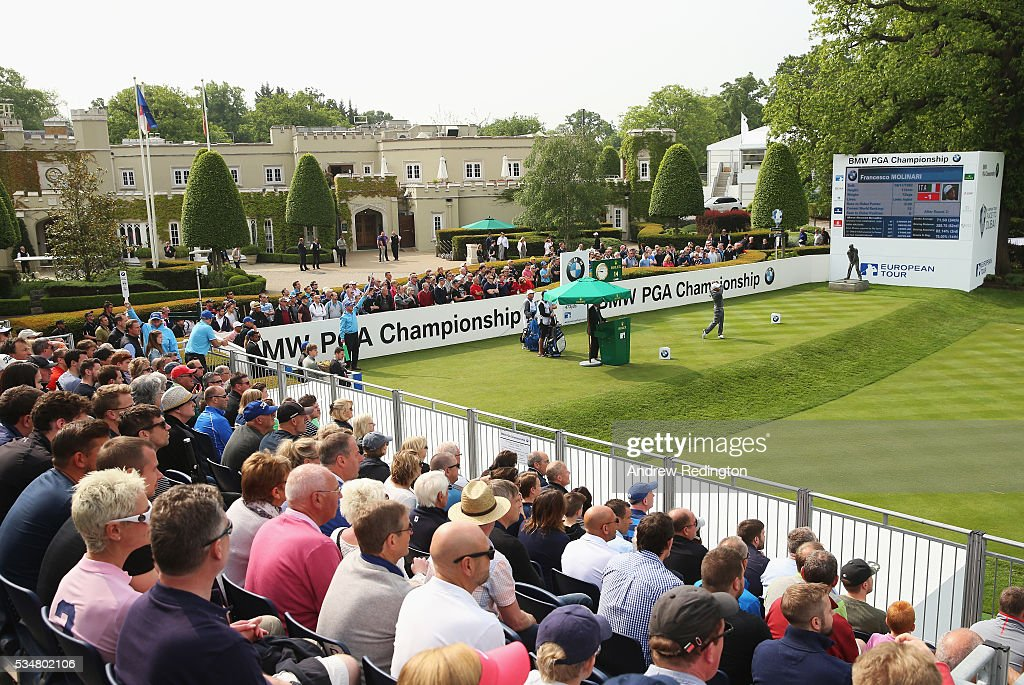 <a gi-track='captionPersonalityLinkClicked' href=/galleries/search?phrase=Francesco+Molinari&family=editorial&specificpeople=637481 ng-click='$event.stopPropagation()'>Francesco Molinari</a> of Italy tees off on the 1st hole during day three of the BMW PGA Championship at Wentworth on May 28, 2016 in Virginia Water, England.