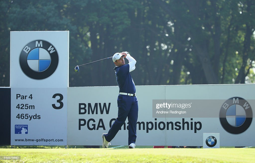 <a gi-track='captionPersonalityLinkClicked' href=/galleries/search?phrase=Francesco+Molinari&family=editorial&specificpeople=637481 ng-click='$event.stopPropagation()'>Francesco Molinari</a> of Italy tees off on the 3rd hole during day one of the BMW PGA Championship at Wentworth on May 26, 2016 in Virginia Water, England.