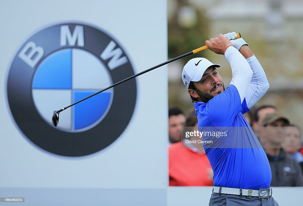 Francesco Molinari of Italy tees off on the first hole during the third round of the BMW PGA Championship on the West Course at Wentworth on May 25, 2013 in Virginia Water, England.