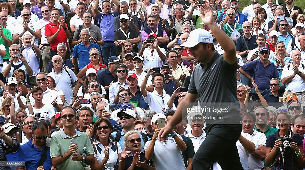 <a gi-track='captionPersonalityLinkClicked' href=/galleries/search?phrase=Francesco+Molinari&family=editorial&specificpeople=637481 ng-click='$event.stopPropagation()'>Francesco Molinari</a> of Italy waves to the crowd as they welcome him onto the first tee during the second round of the 72nd Open d'Italia at Golf Club Milano on September 18, 2015 in Monza, Italy.