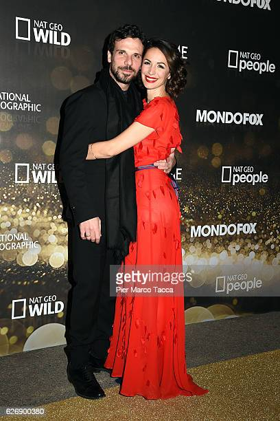 Francesco Montanari and Andrea Delogu attend Fox Tv schedule presentation on November 30 2016 in Milan Italy