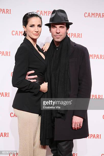 Francesco Montanari and Andrea Delogu walk the red carpet for 'Campari Red Diaries Killer In Red' on January 24 2017 in Rome Italy