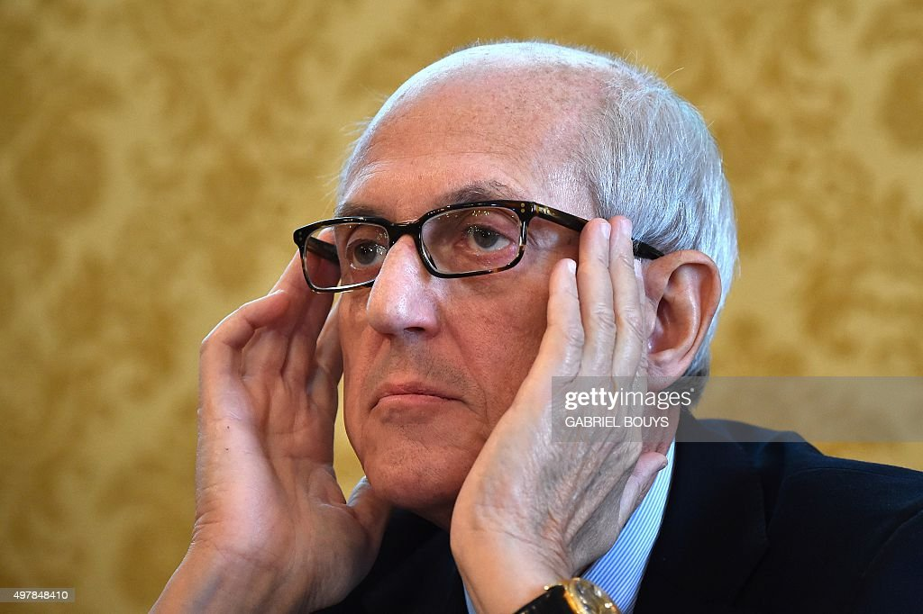 Francesco Paolo Tronca, new commissioner of Rome, attends a press conference on the Jubilee on November 19, 2015 in Rome. The 'Extraordinary Jubilee of ... - francesco-paolo-tronca-new-commissioner-of-rome-attends-a-press-on-picture-id497848410