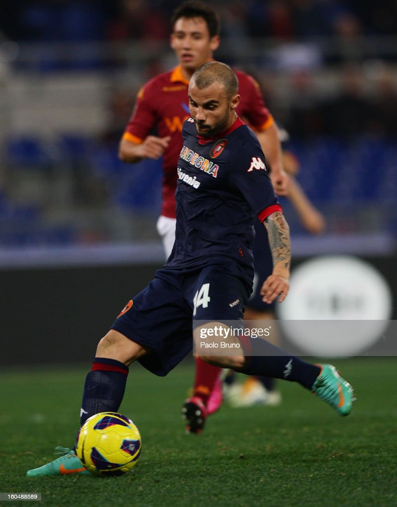 Francesco Pisano of Cagliari Calcio scores the fourth team's goal during the Serie A match between AS Roma and Cagliari Calcio at Stadio Olimpico on February 1, 2013 in Rome, Italy.