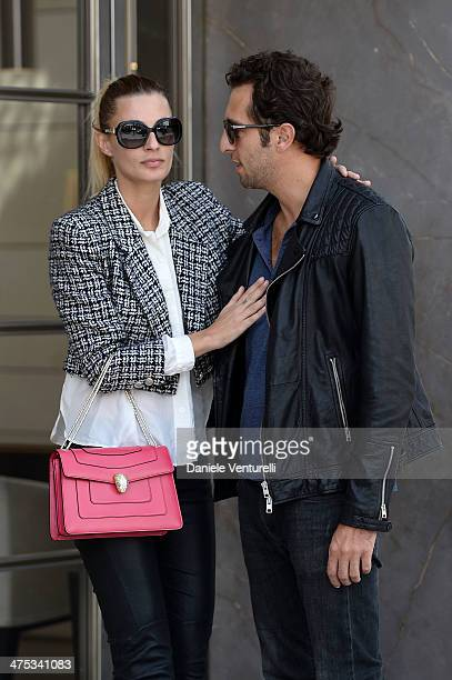 Francesco Pozzessere and Sveva Alviti wearing Bulgari Bag and Sunglasses are seen at Rodeo Drive Wilshire Boulevard on February 27 2014 in Beverly...