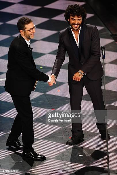 Francesco Renga and Fabio Fazio attend second night of the 64th Festival di Sanremo 2014 at Teatro Ariston on February 19 2014 in Sanremo Italy