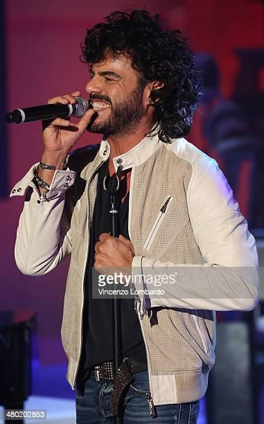 Francesco Renga performs at 'Quelli Che Il Calcio' TV Show on March 23 2014 in Milan Italy