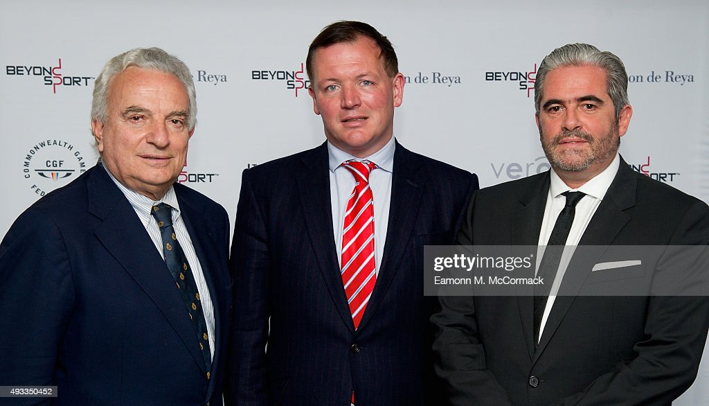 Francesco Ricci Bitti Damian Collins MP and Emanuel Macedo de Medeiros at the Beyond Sport Summit on October 19 2015 in London England
