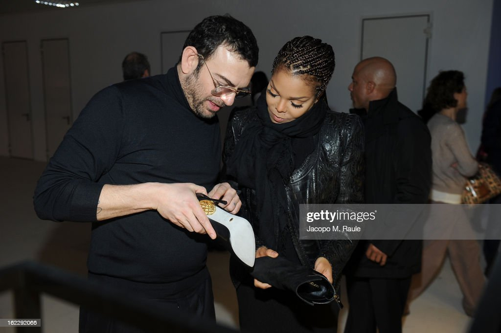 Francesco Russo and Janet Jackson attend the Sergio Rossi presentation cocktail during Milan Fashion Week Womenswear Fall/Winter 2013/14 on February 21, 2013 in Milan, Italy.