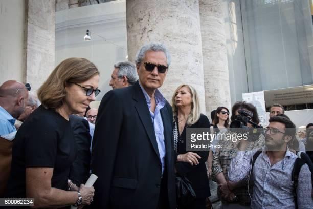 Francesco Rutelli and Barbara Palombelli attends during Carla Fendi Funeral At Chiesa degli Artisti in Rome