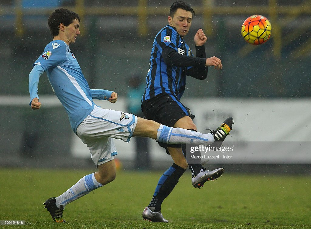 Francesco Saverio Quaglia of SS Lazio competes for the ball with Enrico Baldini of FC Internazionale Milano during the juvenile TIM cup match between FC Internazionale and SS Lazio at Stadio Breda on February 9, 2016 in Sesto San Giovanni, Italy.