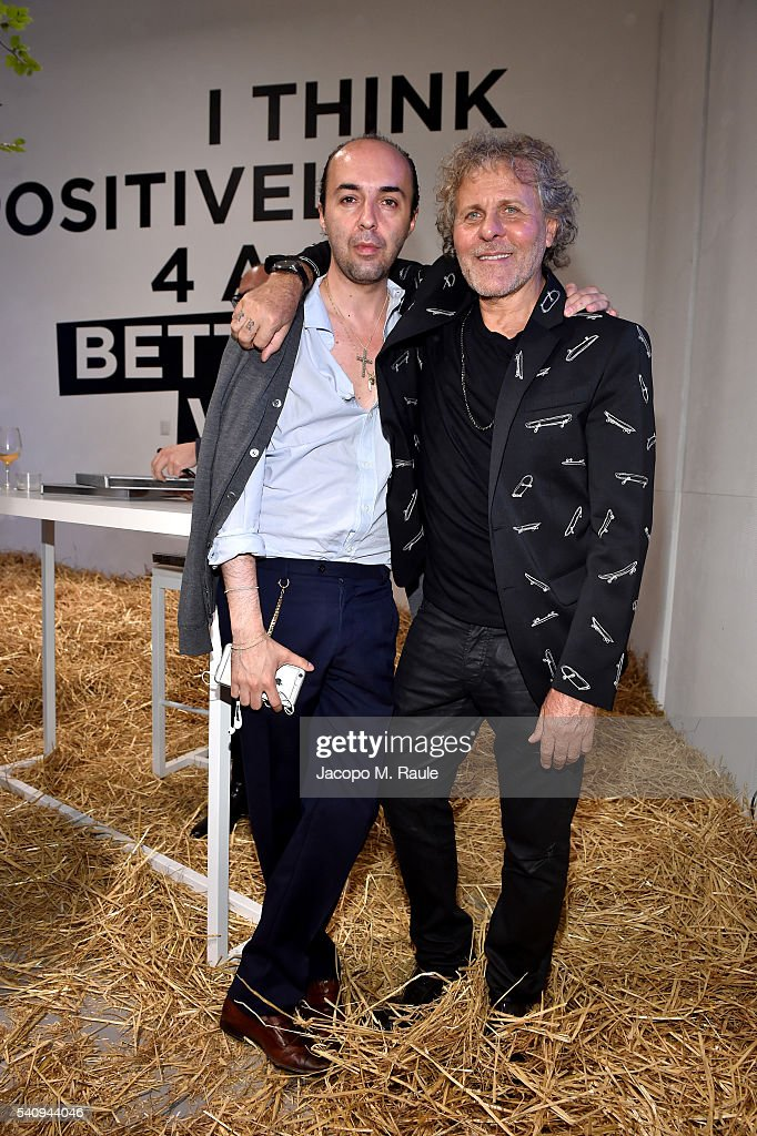 Francesco Scognamiglio and Renzo Rosso attend Renzo Rosso And OTB Launch 'Radical Renaissance 555' Book on June 17 2016 in Milan Italy