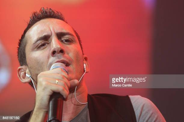 Francesco Silvestre leader and singer of the pop group Modà during a concert at Palapartenope