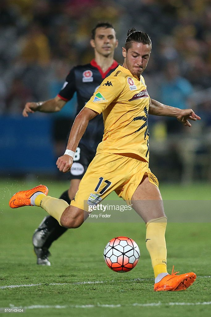 Francesco Stella of the Mariners in action during the round 19 A-League match between the Central Coast Mariners and Adelaide United at Central Coast Stadium on February 14, 2016 in Gosford, Australia.