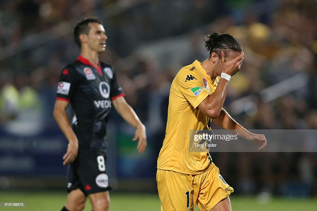 Francesco Stella of the Mariners reacts after missing a shot at goal during the round 19 A-League match between the Central Coast Mariners and Adelaide United at Central Coast Stadium on February 14, 2016 in Gosford, Australia.