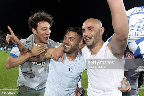 Francesco Tavano and Massimo Maccarone of Empoli FC celebrate after winning Serie B and gaining promotion to Serie A after during the Serie B match...