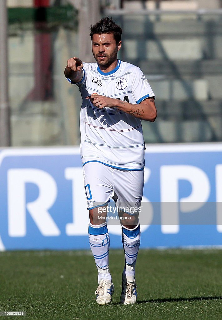 Francesco Tavano of Empoli celebrates after scoring his team's opening goal during the Serie A match between Reggina Calcio and Empoli FC at Stadio Oreste Granillo on December 30, 2012 in Reggio Calabria, Italy.