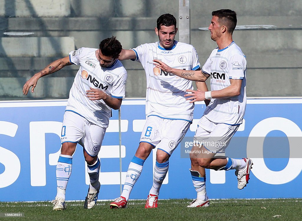 Francesco Tavano (L) of Empoli celebrates after scoring his team's opening goal during the Serie A match between Reggina Calcio and Empoli FC at Stadio Oreste Granillo on December 30, 2012 in Reggio Calabria, Italy.