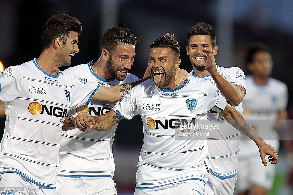 Francesco Tavano of Empoli FC celebrates after scoring a goal during the Serie B match between AS Cittadella and Empoli FC at Stadio Partenio on May...