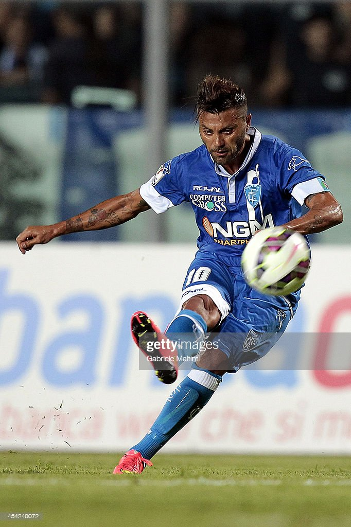 Francesco Tavano of Empoli FC in action during the TIM Cup match between Empoli FC and L'Aquila Calcio at Stadio Carlo Castellani on August 24, 2014 in Empoli, Italy.