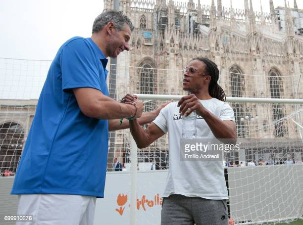 Francesco Toldo and Edgar Davids attend a football clinic for integration organized by Italian Football Federation on June 22 2017 in Milan Italy