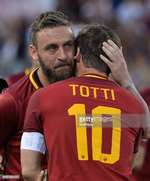 Francesco Totti and Daniele De Rossi during the Italian Serie A football match between AS Roma and FC Genoa at the Olympic Stadium in Rome on may 28...