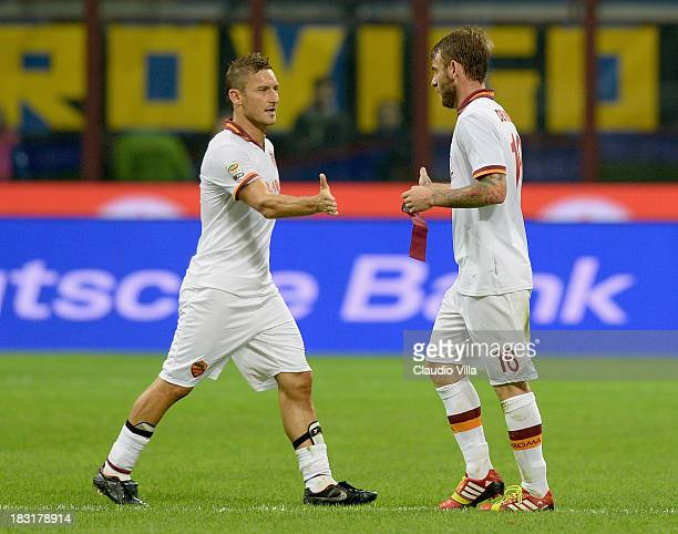 Francesco Totti and Daniele De Rossi of AS Roma during the Serie A match between FC Internazionale Milano and AS Roma at Stadio Giuseppe Meazza on...