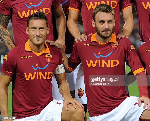 Francesco Totti and Daniele De Rossi of Roma before the preseason friendly match between AS Roma and Aris Thessaloniki FC at Olimpico Stadium on...