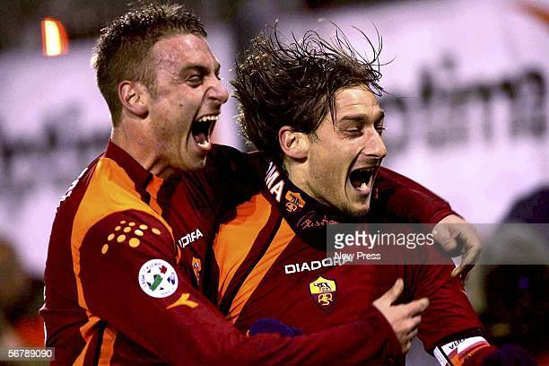 Francesco Totti and Daniele De Rossi of Roma celebrate during their Serie A match against Cagliari at Olimpico Stadium February 8 2006 in Rome Italy...