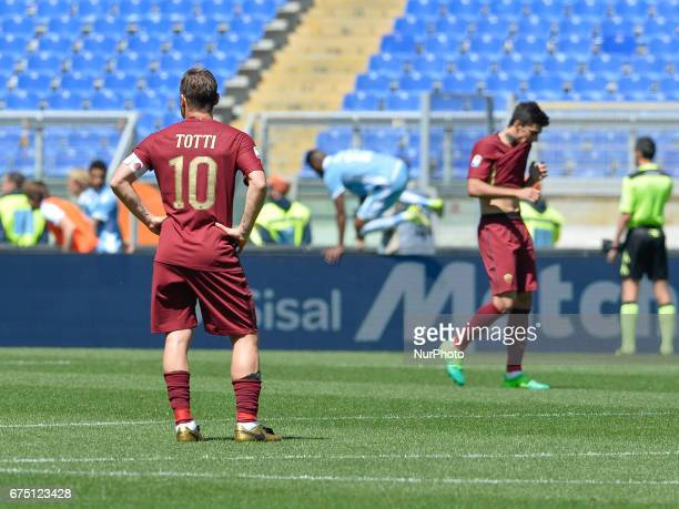 Francesco Totti and Diego Perotti during the Italian Serie A football match between AS Roma and SS Lazio at the Olympic Stadium in Rome on april 30...