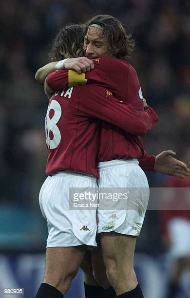 Francesco Totti and Gabriel Batistuta of Roma celebrate a goal during the SERIE A 16th Round League match between Roma and Napoli played at the...