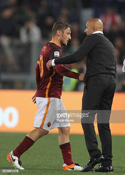 Francesco Totti and his head coach Luciano Spalletti of AS Roma react after the Serie A match between AS Roma and Torino FC at Stadio Olimpico on...