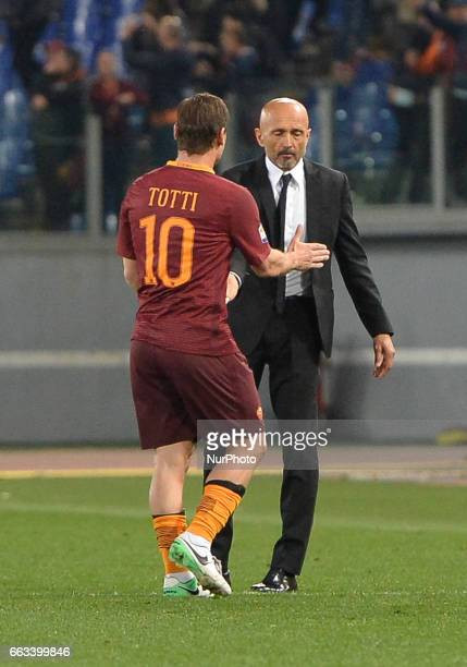 Francesco Totti and Luciano Spalletti during the Italian Serie A football match between AS Roma and FC Empoli at the Olympic Stadium in Rome on april...