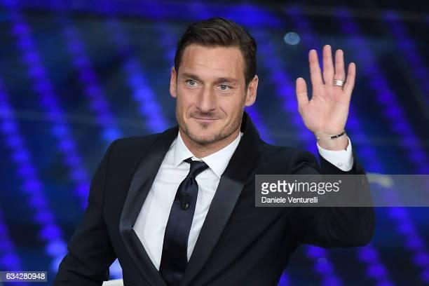 Francesco Totti attends the second night of the 67th Sanremo Festival 2017 at Teatro Ariston on February 8 2017 in Sanremo Italy