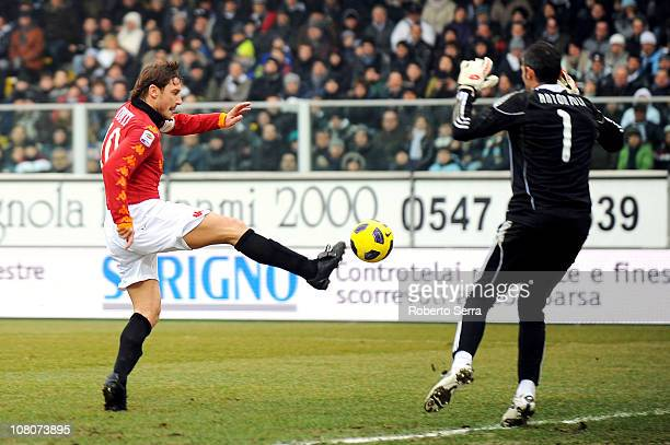 Francesco Totti captain of Roma shoots the ball during the Serie A match between Cesena and Roma at Dino Manuzzi Stadium on January 16 2011 in Cesena...