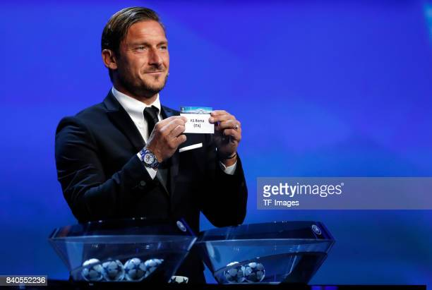 Francesco Totti draws AS Roma during the UEFA Champions League Group stage draw ceremony at the Grimaldi Forum Monte Carlo in Monaco on August 24 2017
