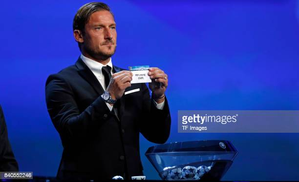Francesco Totti draws RB Leipzig during the UEFA Champions League Group stage draw ceremony at the Grimaldi Forum Monte Carlo in Monaco on August 24...