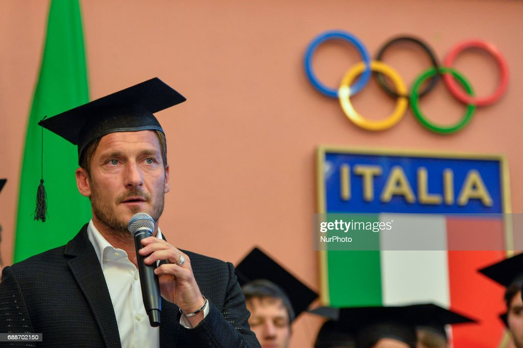 Francesco Totti during celebration for Honoris causa diploma for Totti in the salon of honor of CONI , Rome on may 26, 2017