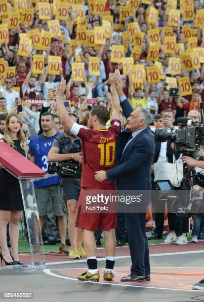 Francesco Totti James Pallotta during the Italian Serie A football match between AS Roma and FC Genoa at the Olympic Stadium in Rome on may 28 2017