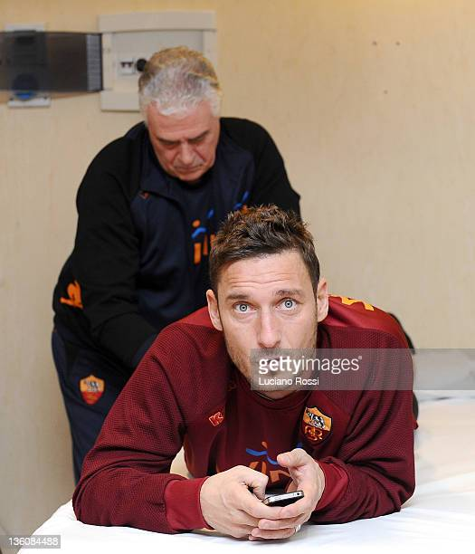 Francesco Totti looks on during a massage session at Centro Sportivo Fulvio Bernardini on December 19 2011 in Rome Italy