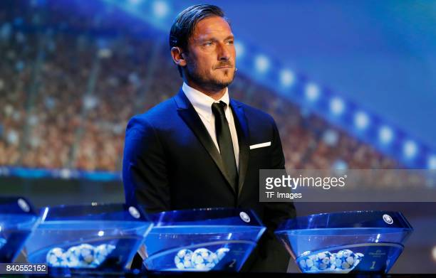 Francesco Totti looks on during the UEFA Champions League Group stage draw ceremony at the Grimaldi Forum Monte Carlo in Monaco on August 24 2017