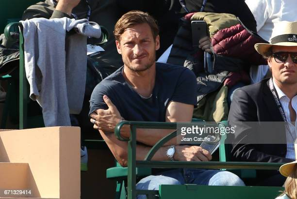 Francesco Totti of AS Roma attends day 6 of the MonteCarlo Rolex Masters an ATP Tour Masters Series 1000 on the clay courts of the MonteCarlo Country...