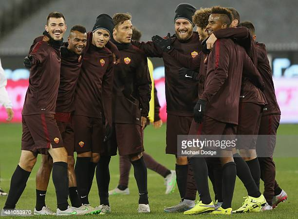 Francesco Totti of AS Roma celebrates a goal with teamates during an AS Roma training session at Melbourne Cricket Ground on July 17 2015 in...