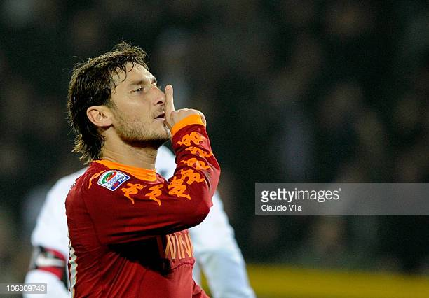 Francesco Totti of AS Roma celebrates after scoring the 11 equaliser from a penalty during the Serie A match between Juventus and Roma at Olimpico...