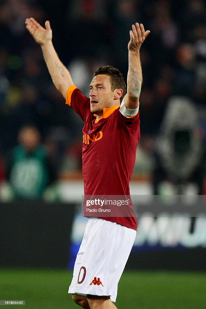 <a gi-track='captionPersonalityLinkClicked' href=/galleries/search?phrase=Francesco+Totti&family=editorial&specificpeople=208985 ng-click='$event.stopPropagation()'>Francesco Totti</a> of AS Roma celebrates after scoring the opening goal of the Serie A match between AS Roma and Juventus FC at Stadio Olimpico on February 16, 2013 in Rome, Italy.