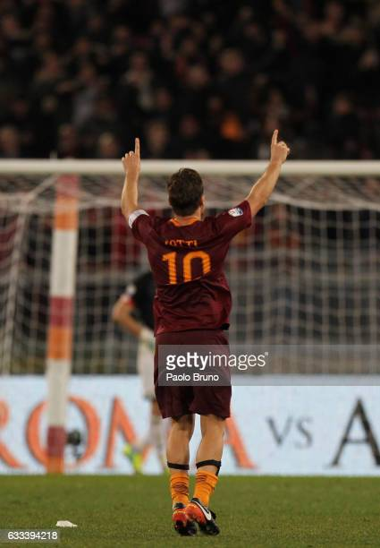 Francesco Totti of AS Roma celebrates after scoring the team's second goal from penalty spot during the Serie A match between AS Roma and AC Cesena...