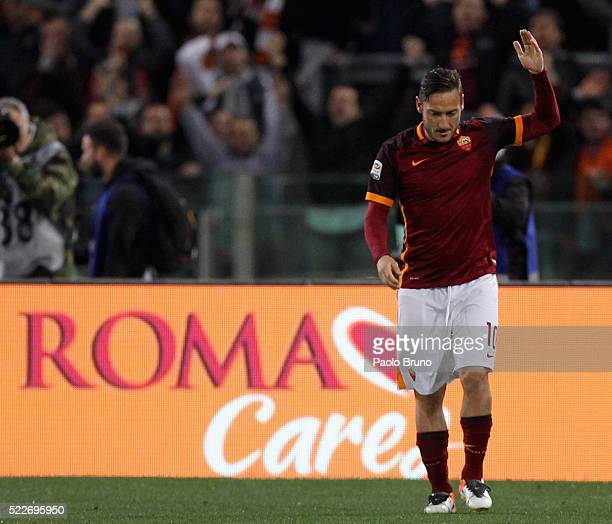 Francesco Totti of AS Roma celebrates after scoring the team's third goal from penalty spot during the Serie A match between AS Roma and Torino FC at...