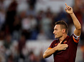 Francesco Totti of AS Roma celebrates after scoring the third team's goal from penalty spot during the Serie A match between AS Roma and AC Chievo...