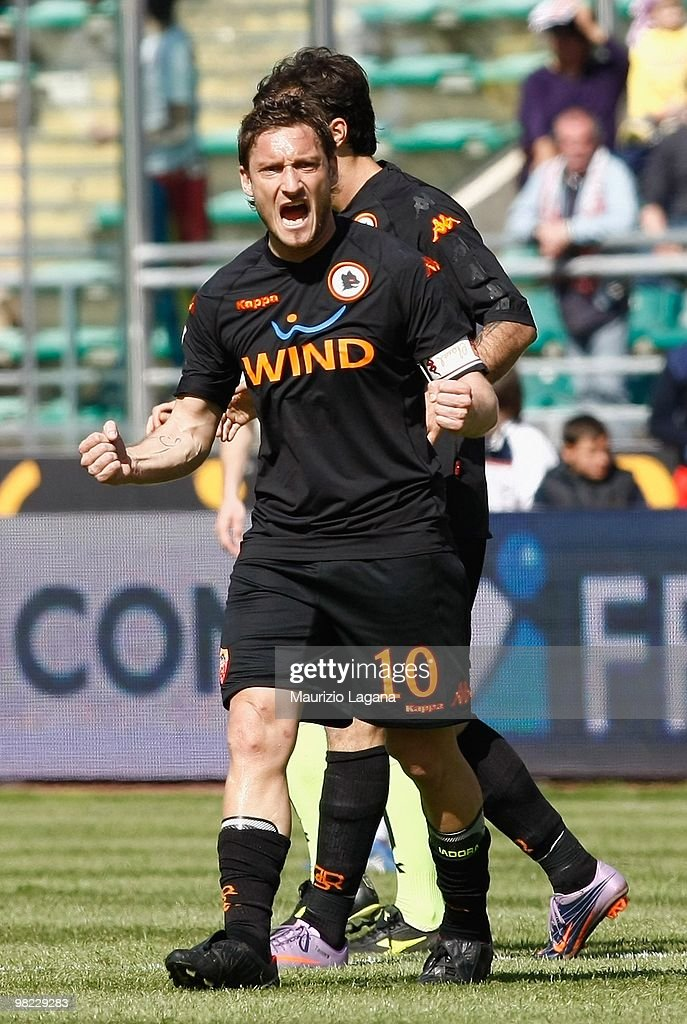 Francesco Totti of AS Roma celebrates during the Serie A match between AS Bari and AS Roma at Stadio San Nicola on April 3 2010 in Bari Italy